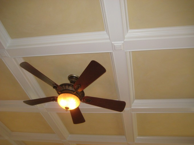 Coffered Ceiling In White And Cream With Ceiling Fan Plus Light