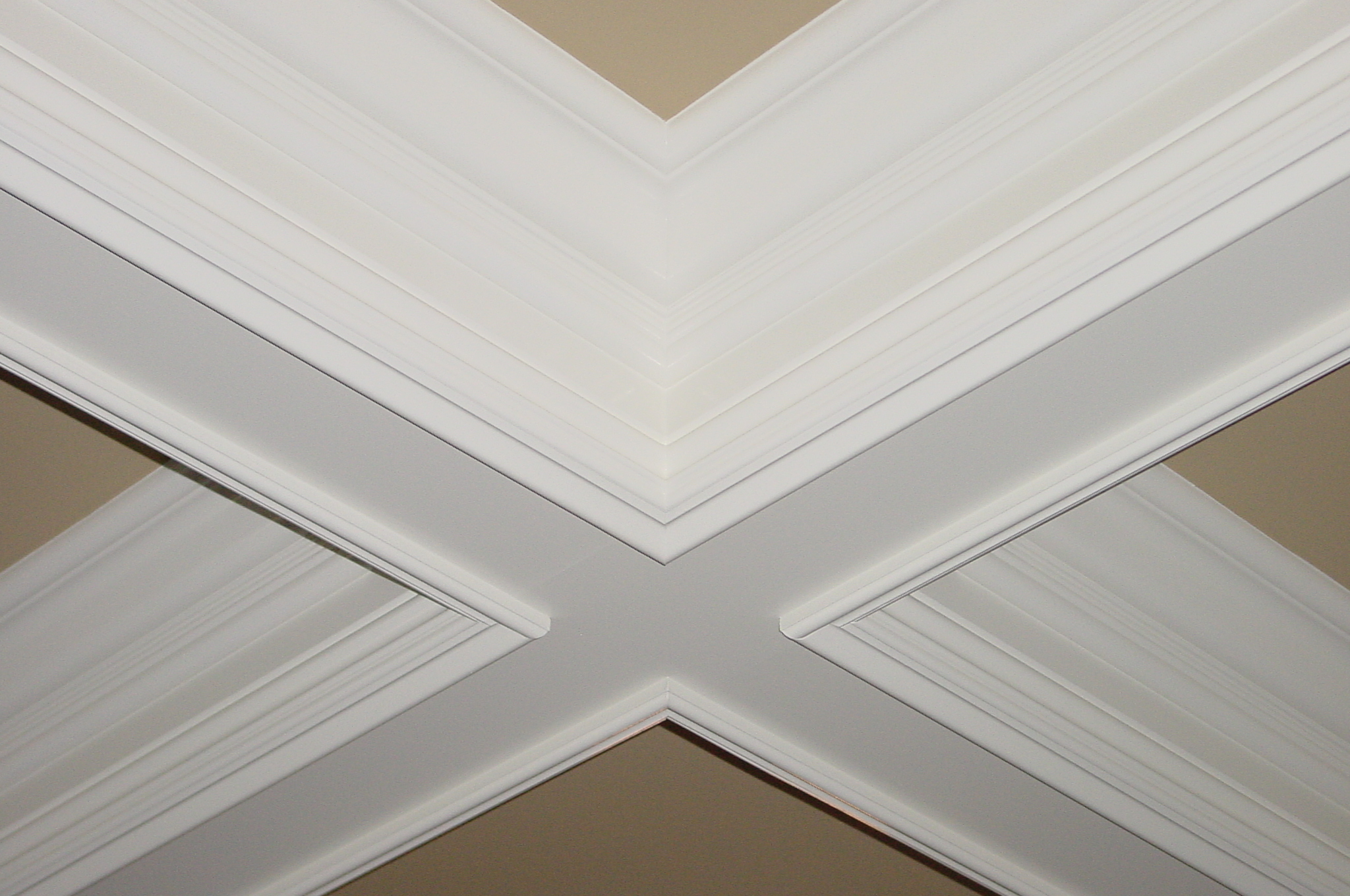 Coffered Ceiling in white and tan for more beauiful ceiling