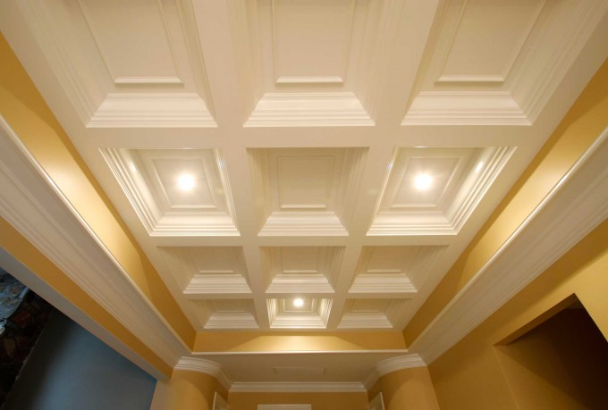 Coffered Ceiling In White With Gold Yellow Touching Plus Lights Combained With Matching Wall