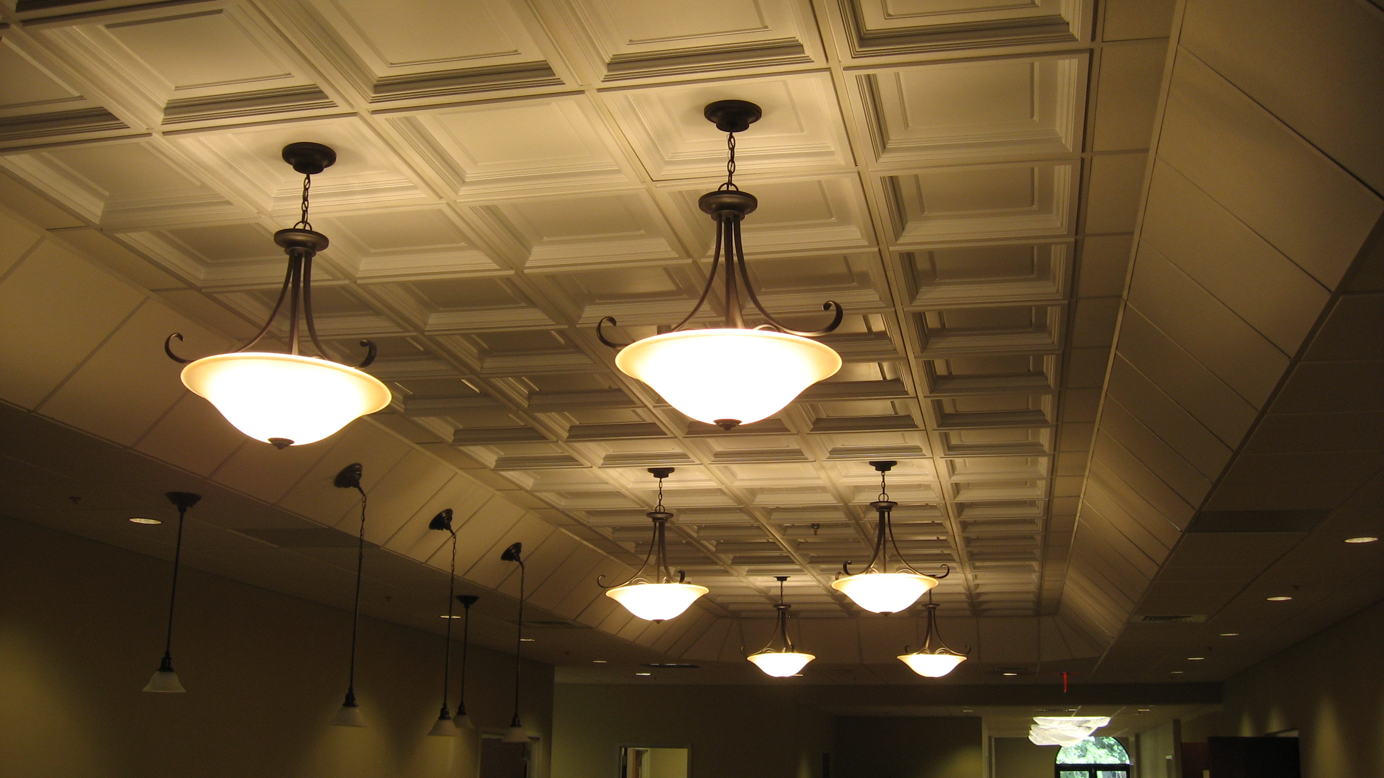 Coffered Ceiling Tiles with chandeliers for more beautiful ceiling