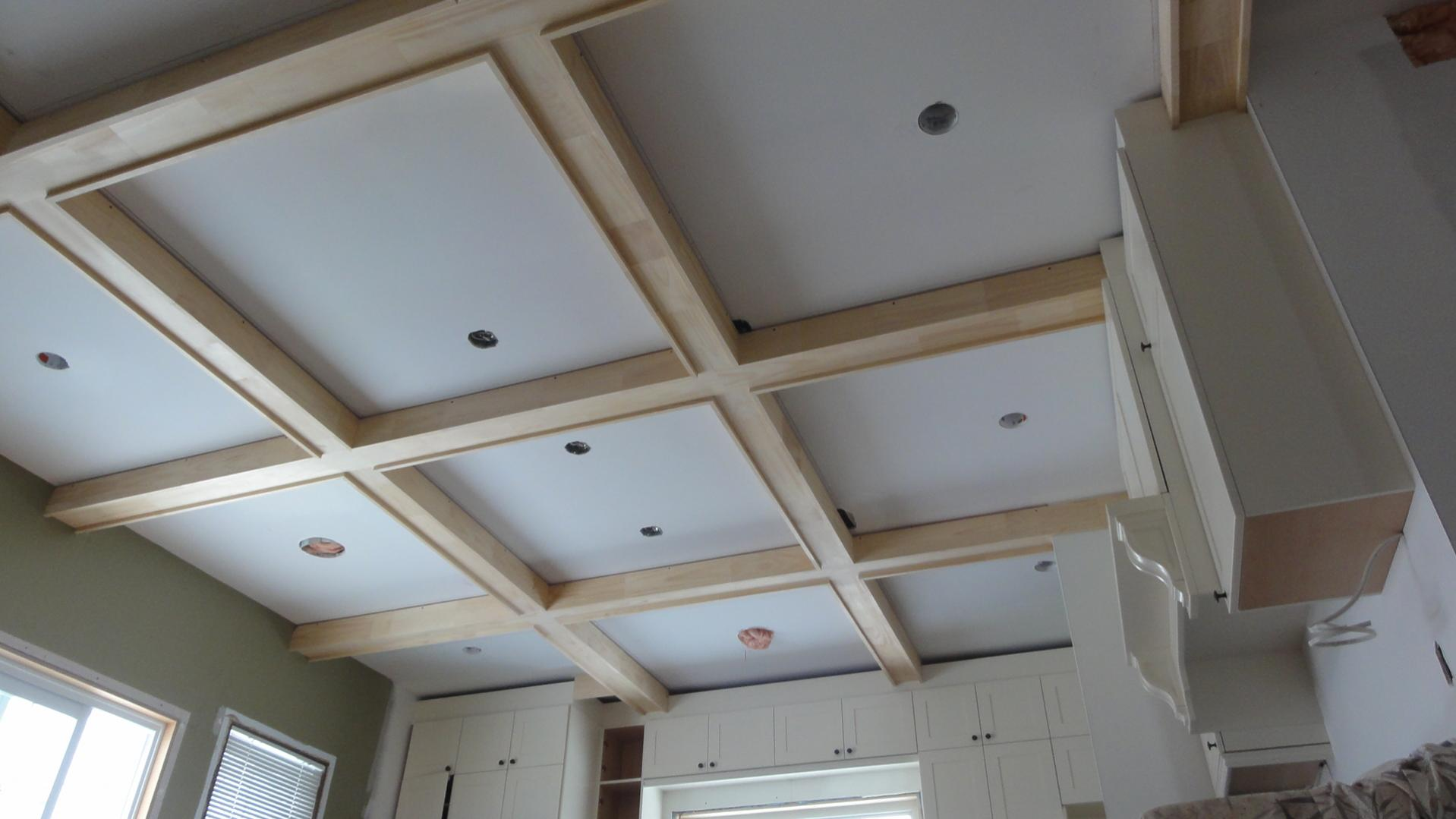 Coffered Ceilings in progress for kitchen ceiling