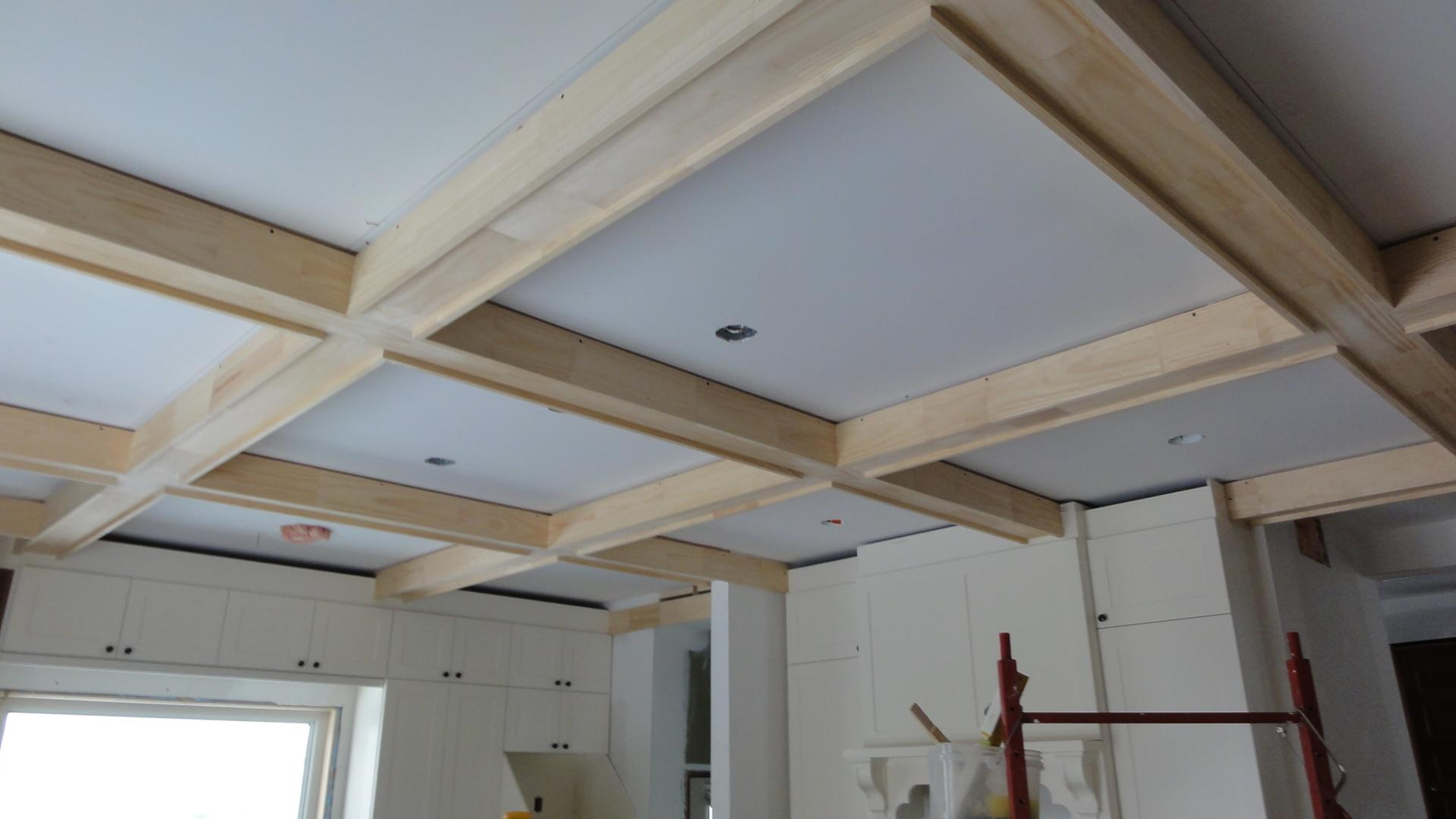 Coffered Ceilings on progress for family room