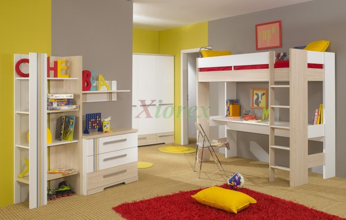 Colorful Loft Beds For Teens With Study Area And Red Carpet