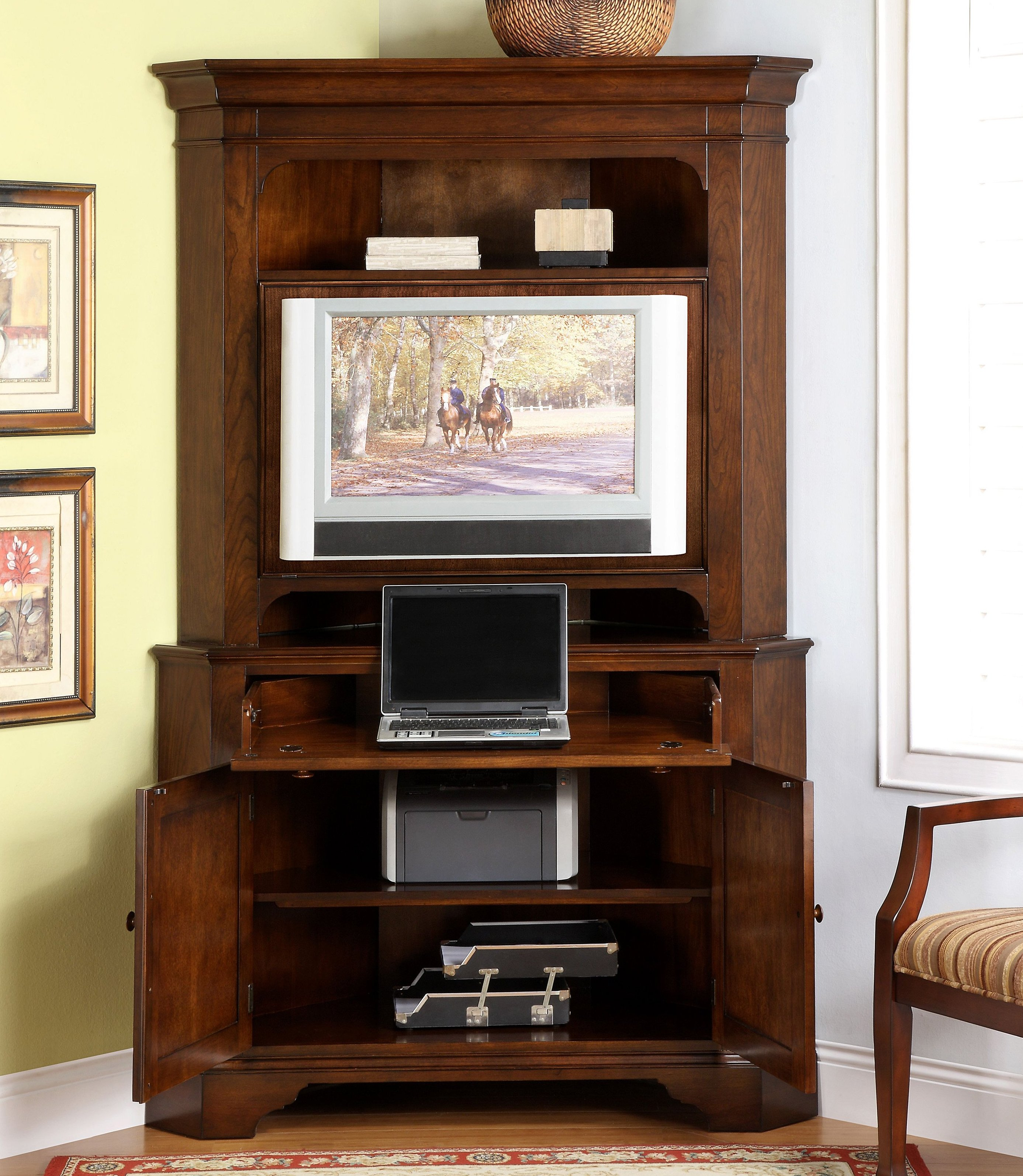 Computer Armoire From Red Cherry Wood with tv stand for your compact home office