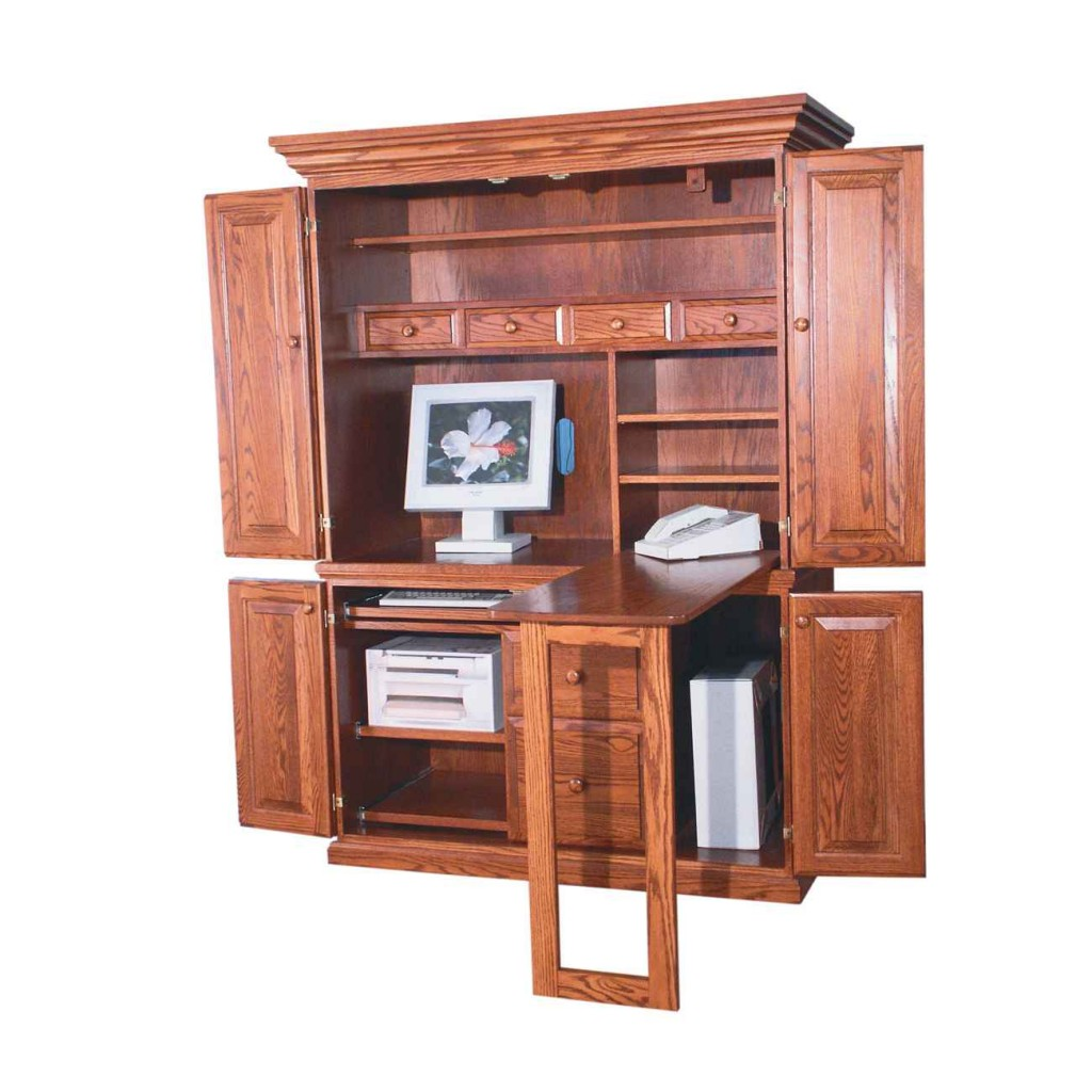 Computer armoire in natural brown wood with telephone stand