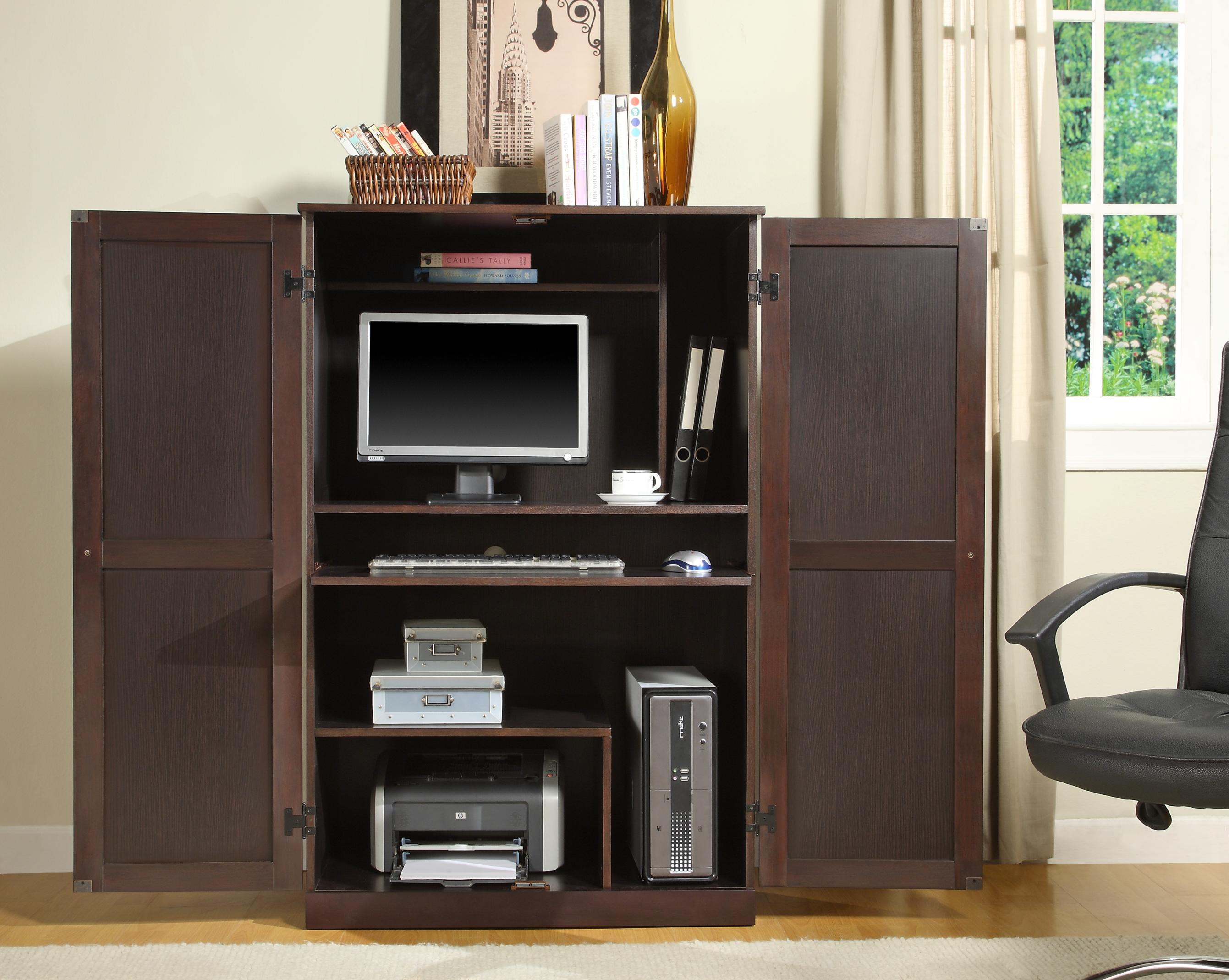 Computer Armoire with book above and wooden floor for your Interior Design ideas