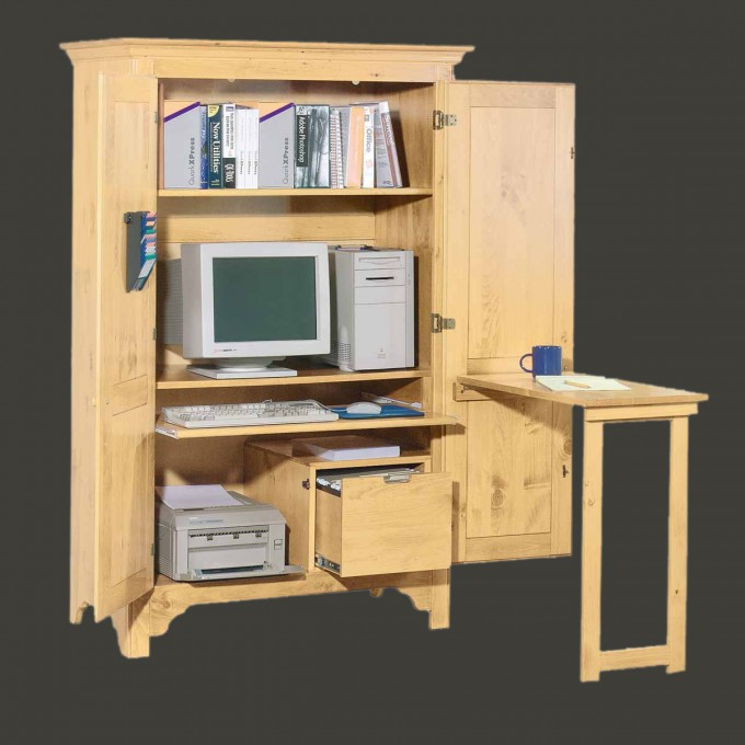 Computer Armoire With Storage And Mini Desk