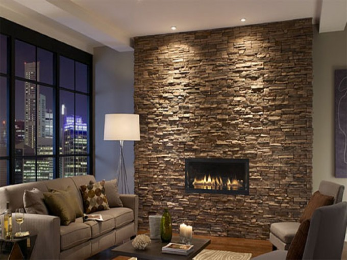 Cool And Amazing Houses Designs With Stone Veneer Panels Decoration With Sora And Floor Standing Table Plus Window