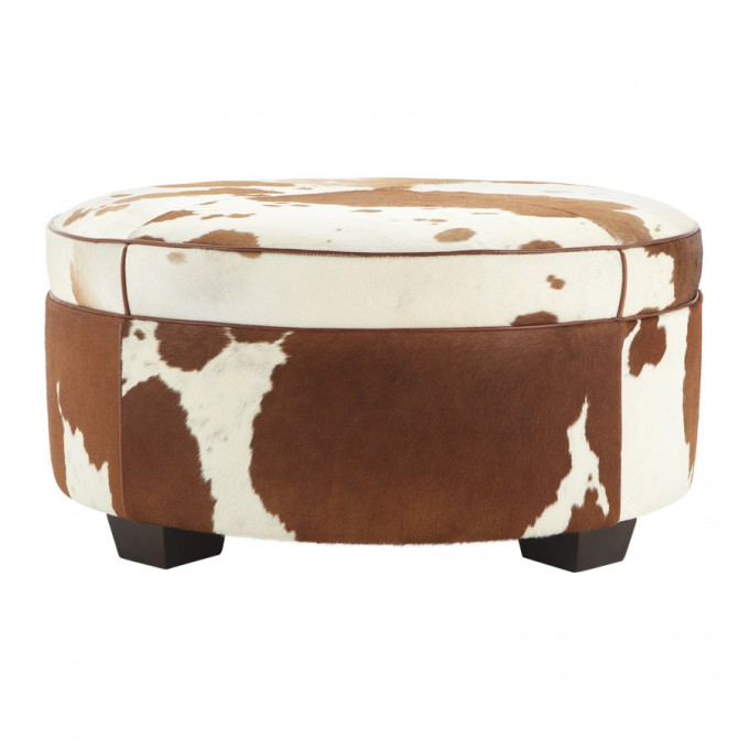 Cowboy Round Ottoman In Brown And White Hair On Hide