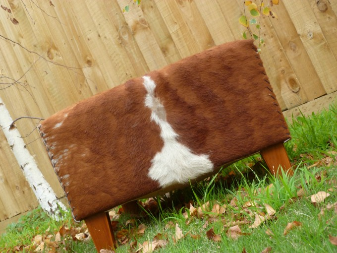 Cowhide Ottoman With Brown Legs On Grass