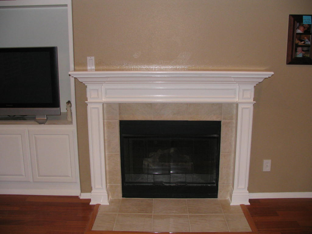 cream porcelain tile fireplace mantel kits with white wood shelf for tv with tan wall