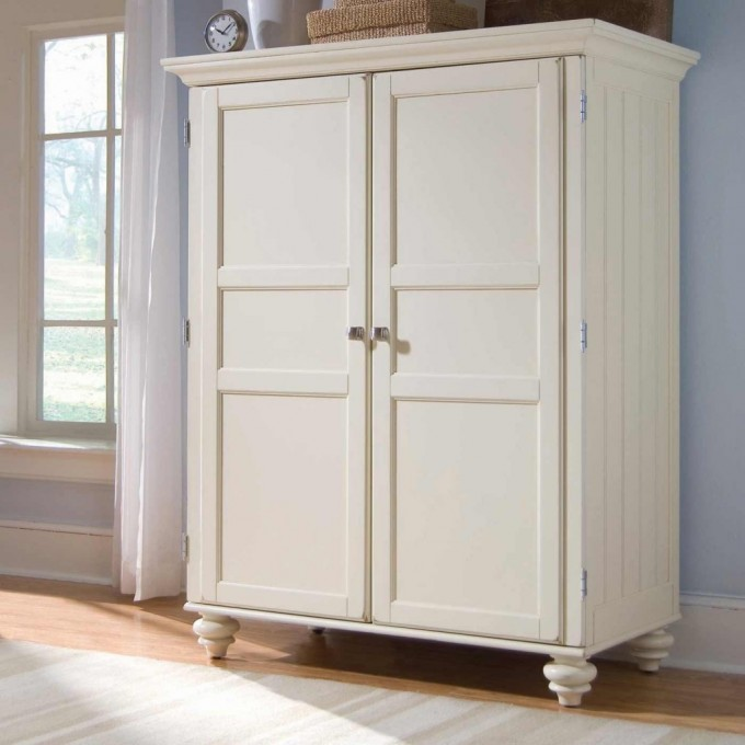 Cream White Computer Armoire Near Window With Skyblue Wall And Wooden Floor For Compact Home Office Decor Ideas