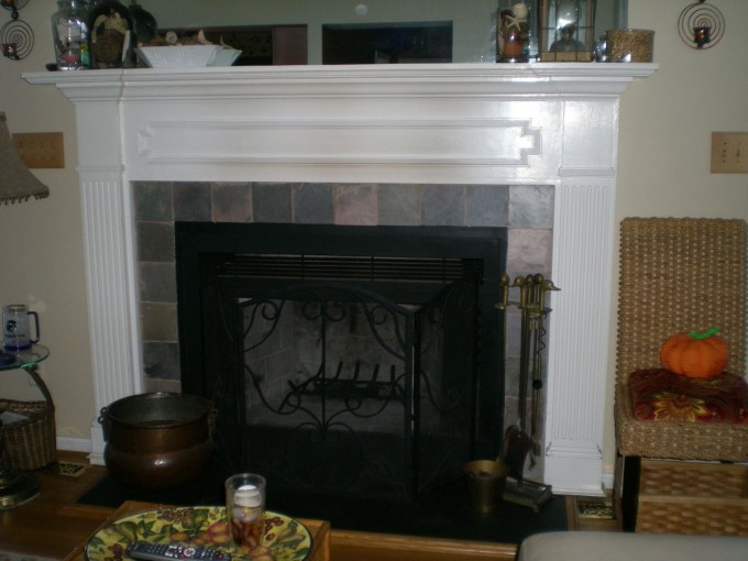 Custom Fireplace Mantel Kits With Chair And Floor Standing Lamp