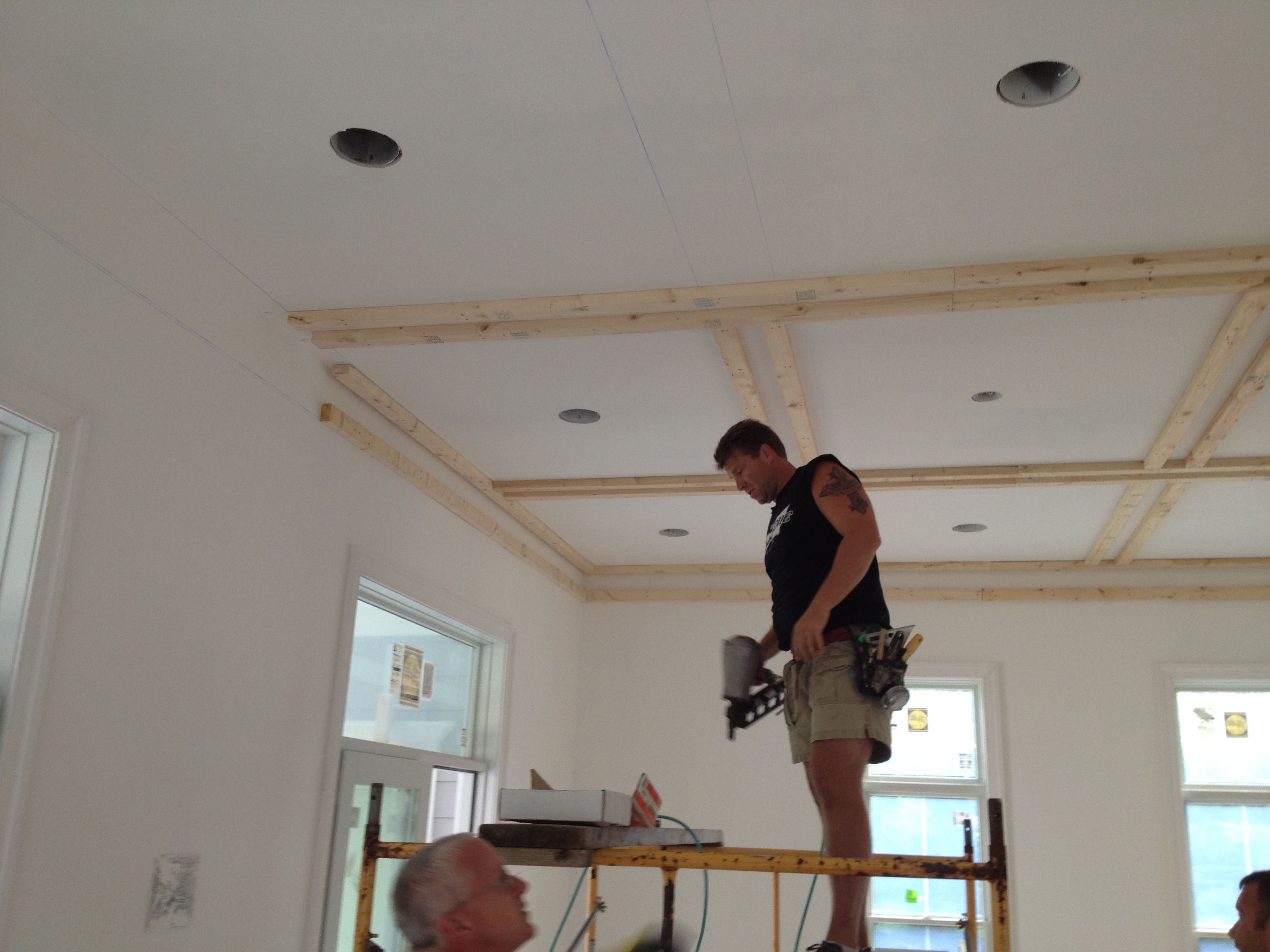 How to build a coffered ceiling - Custom Homes Pool House Adding A Custom Coffered Ceiling