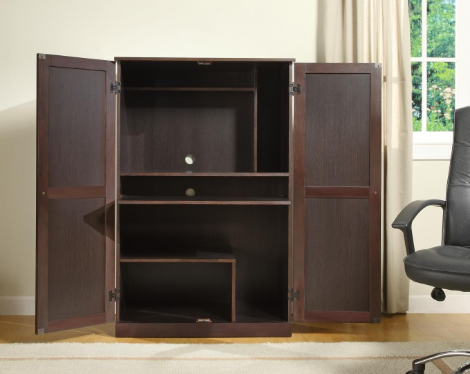 Dark Brown Computer Armoire With Six Dividers