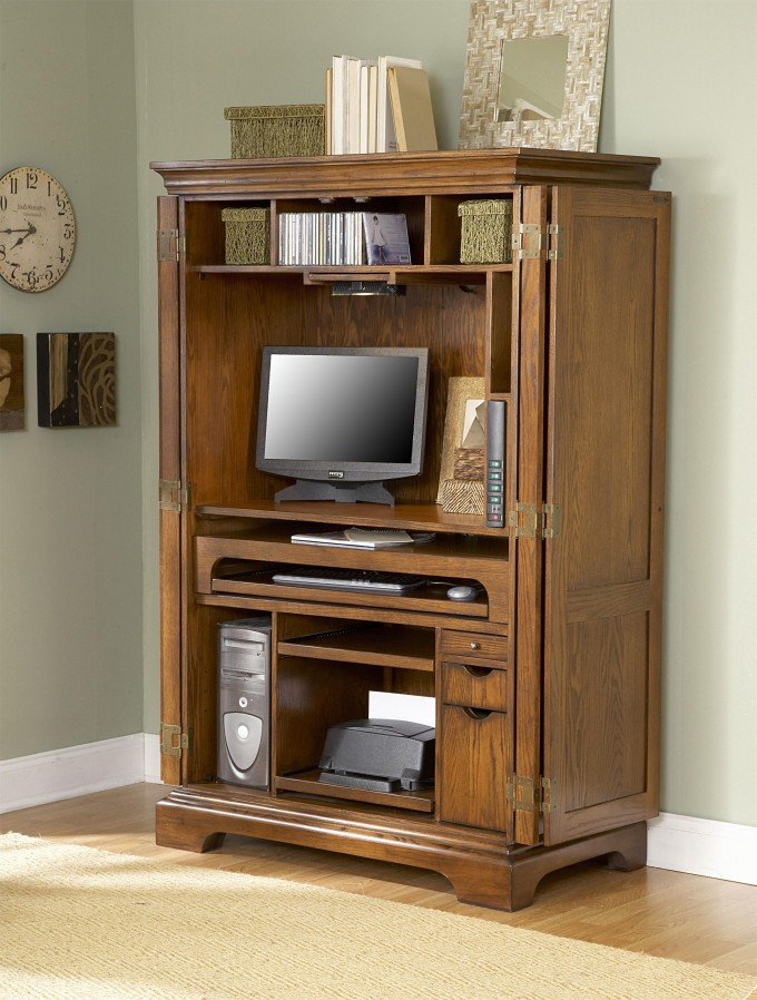 DECORATING Traditional Computer Armoire With Book Shelf