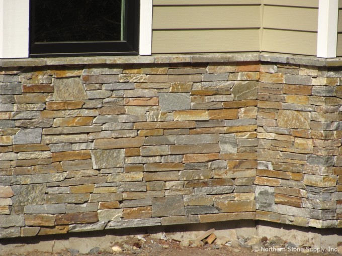 Decoration Ideas Using Cream Stone Veneer Panels For Exterior Design
