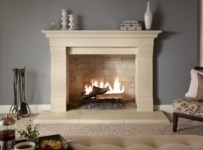 Delectable Stone Fireplace Mantel Kits With Grey Wall And Small Jar Above