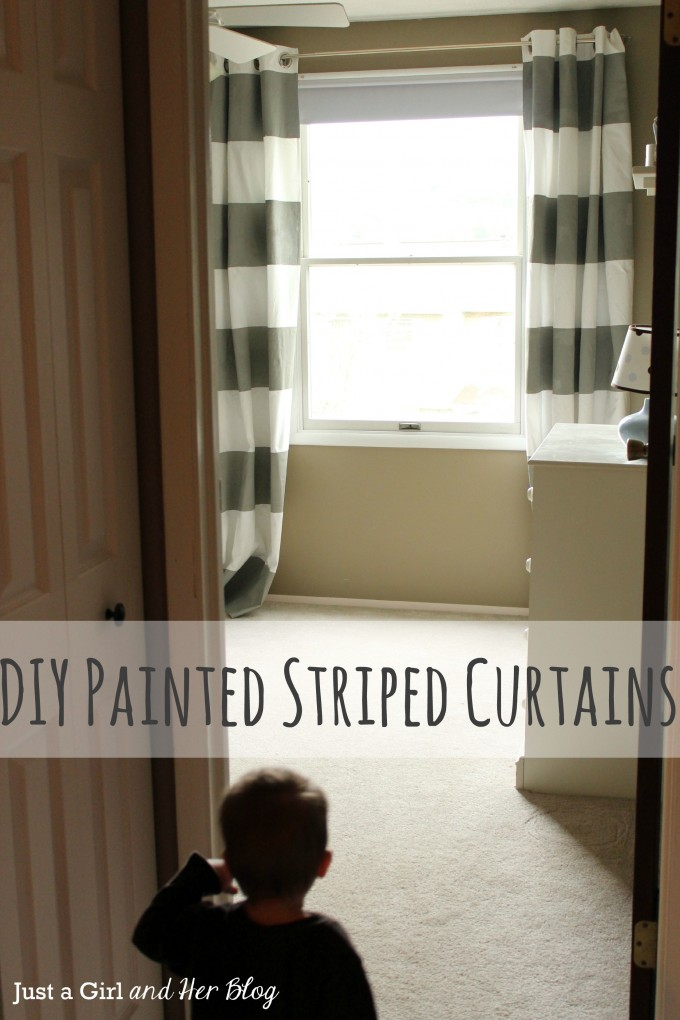 Diy Painted Horizontal Striped Curtains With Single Hung Window And Tan Wall