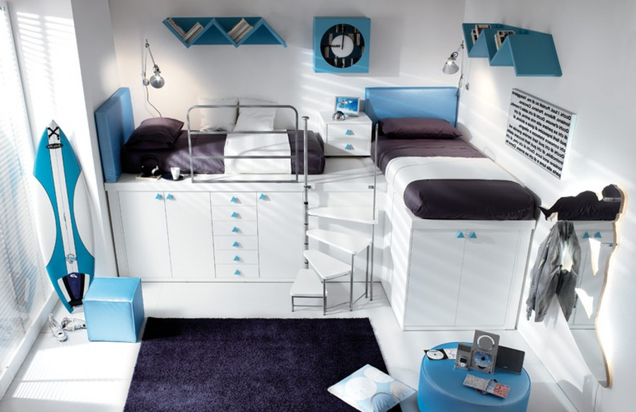 Double Loft Beds For Teens With Wardrobe And Surf Board Under Bed Plus Matching Carpet