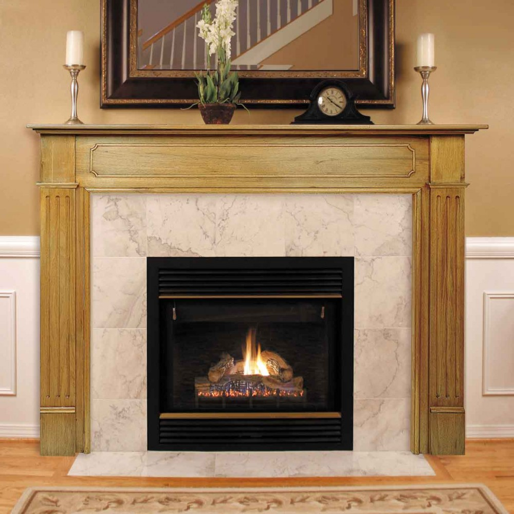 elegant Fireplace Mantel Kits with double chandels and single mirror plus table clock above