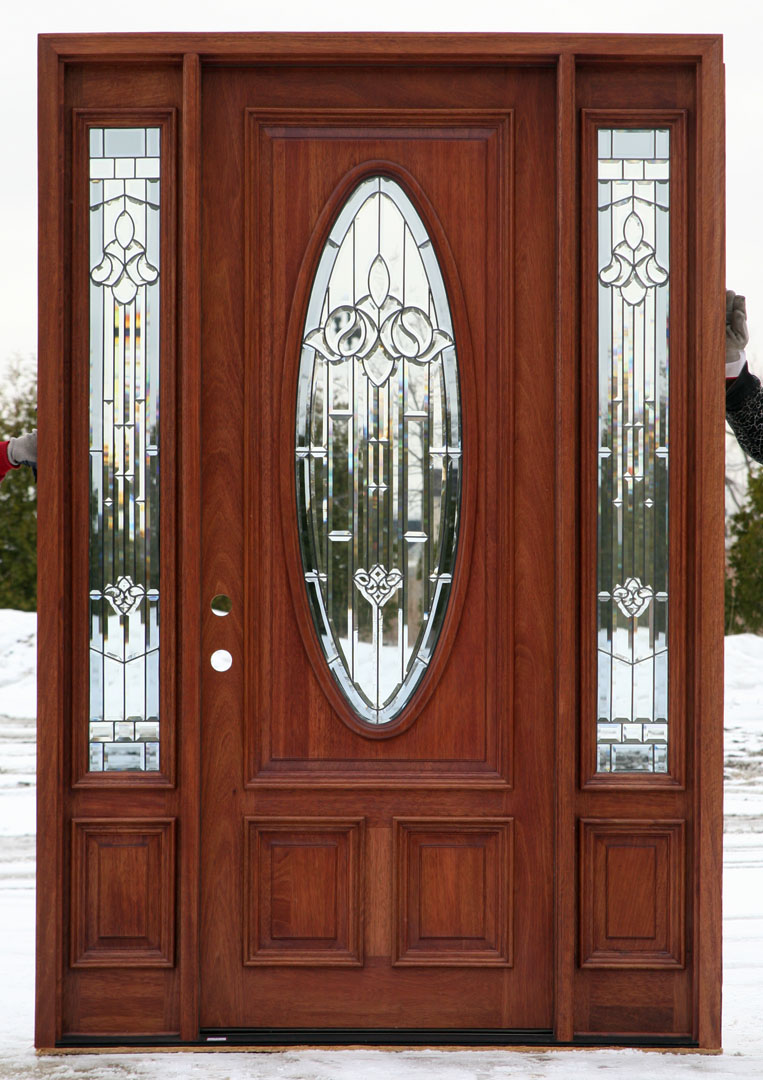 Entry Door With Sidelights In Natural Brown Wood Without Handle