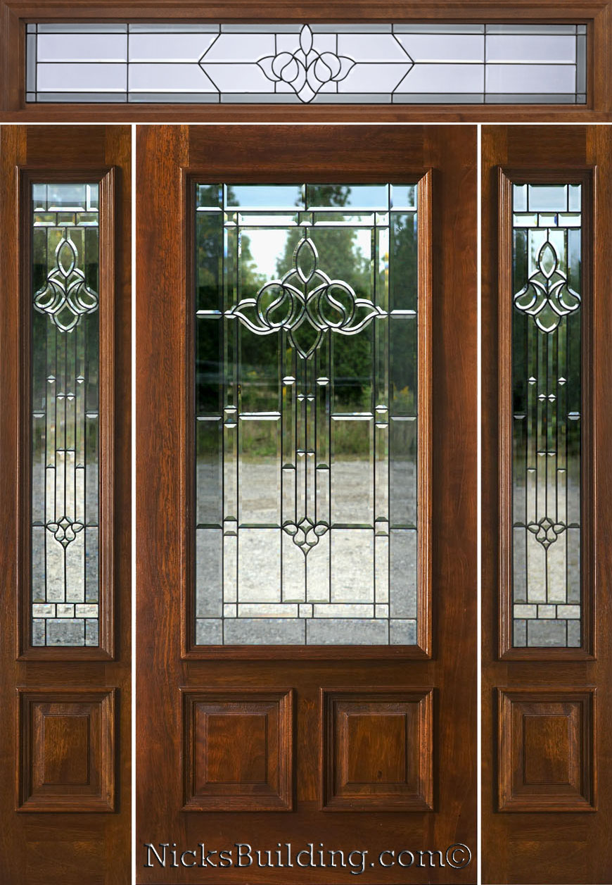 entry door with sidelights in natural wood color
