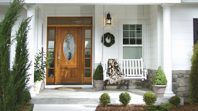 Entry Door With Sidelights Matched With White Color With Chair And Lamp On Wall
