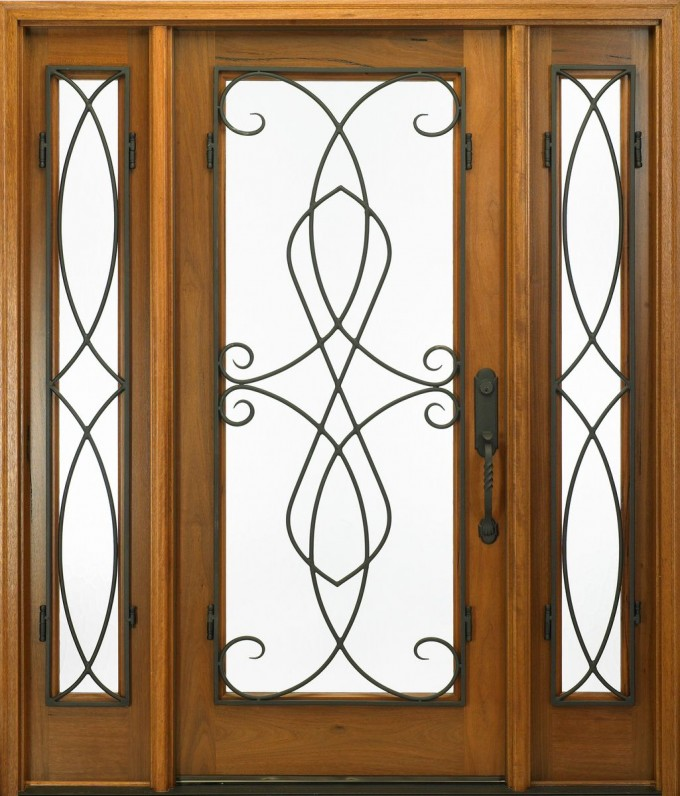 Entry Door With Sidelights With Black Handle And Curves Ornament