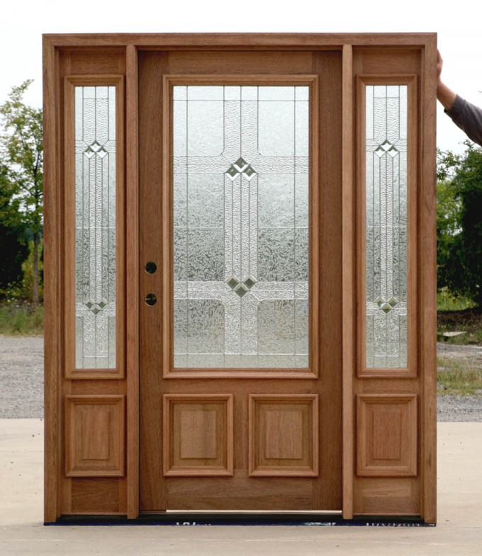 Entry Door With Sidelights With Black Handle