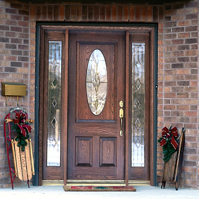 Entry Door With Sidelights With Brick Wall And Golden Handle