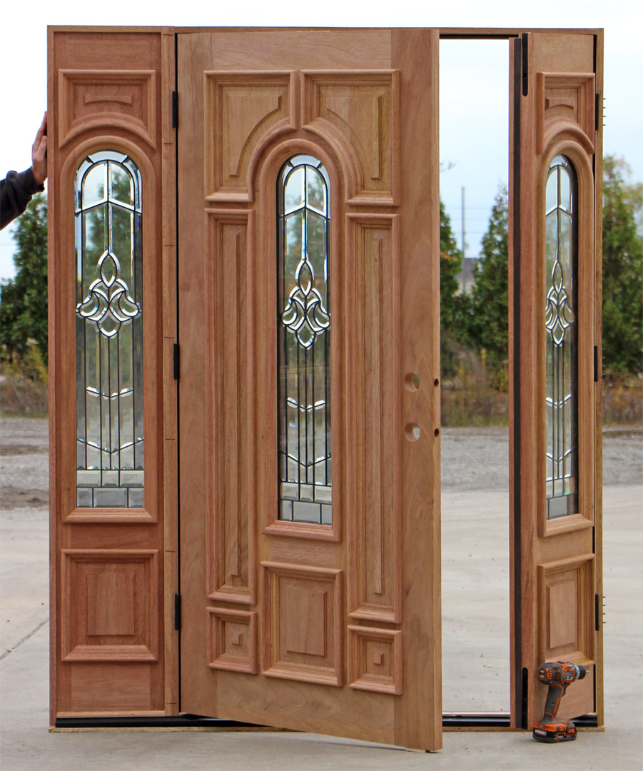 entry door with sidelights with good carving
