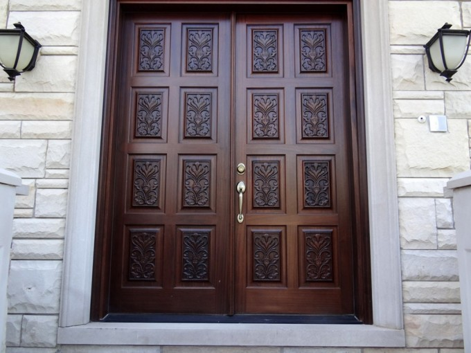 Entry Door With Sidelights With Wonderful Carving Matched With Modern Stone Wall In White