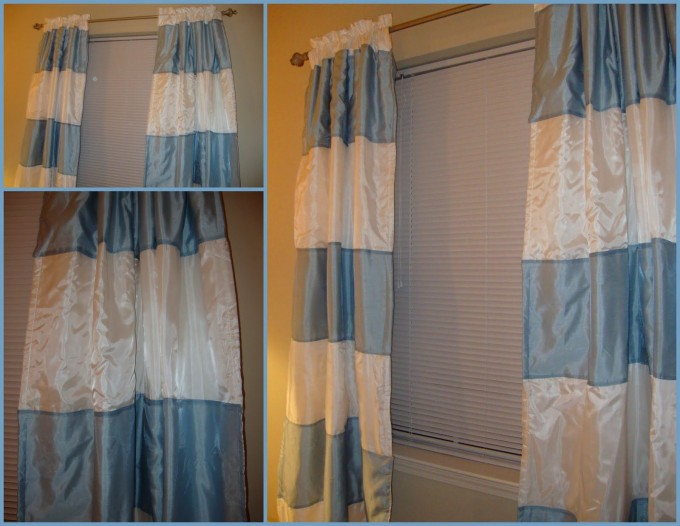 Fabulous Blue And White Silk Horizontal Striped Curtains For Bedroom Interior Design Idea