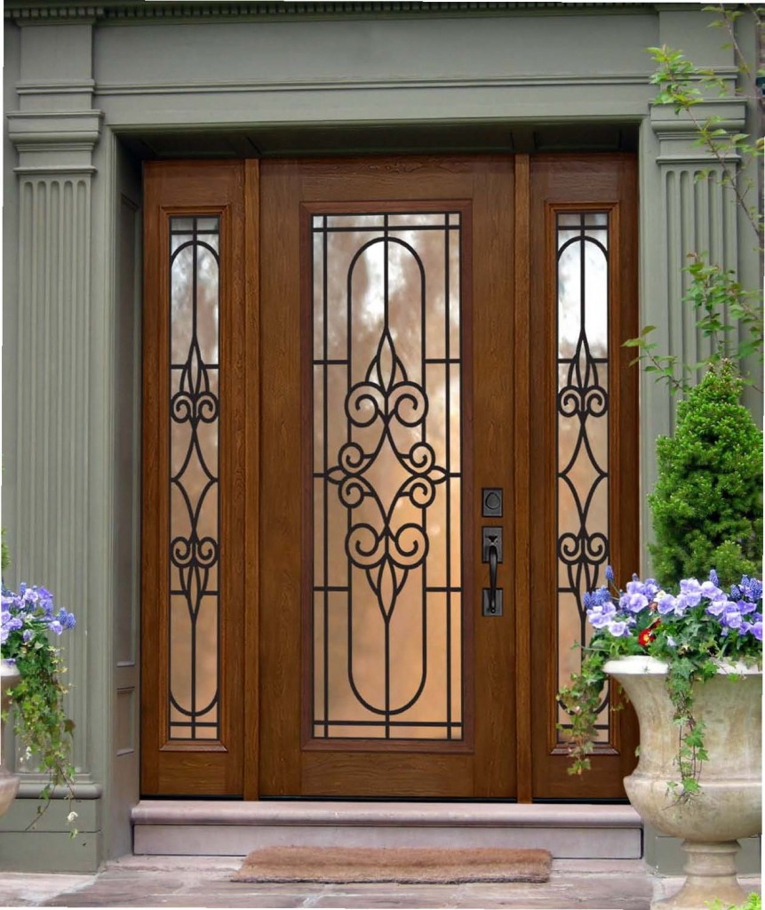 Fiberglass Entry Door With Sidelights with flowers and white wall