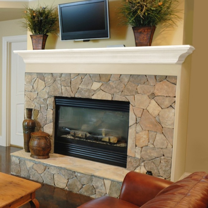 Fireplace Mantel Kits Under LED Tv And Flower Vase Plus Synthetic Sofa