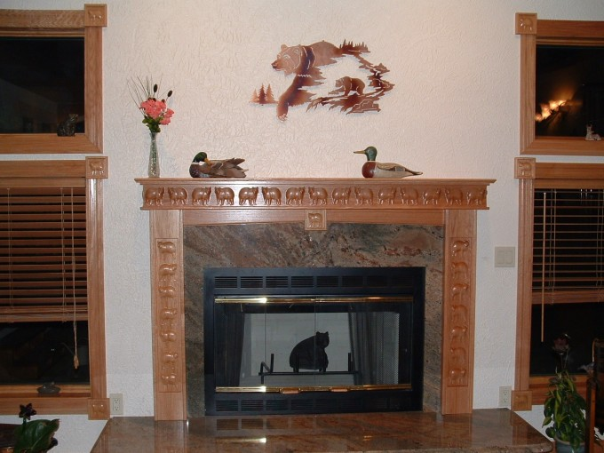 Fireplace Mantel Kits With Bear Ornament And Ceramics Floor For Home Decor Ideas