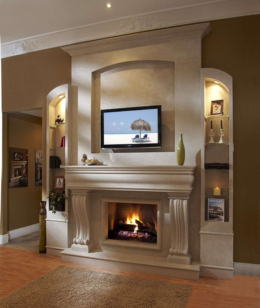 Fireplace Mantel Kits with LCD tv and sleves and tan carpet