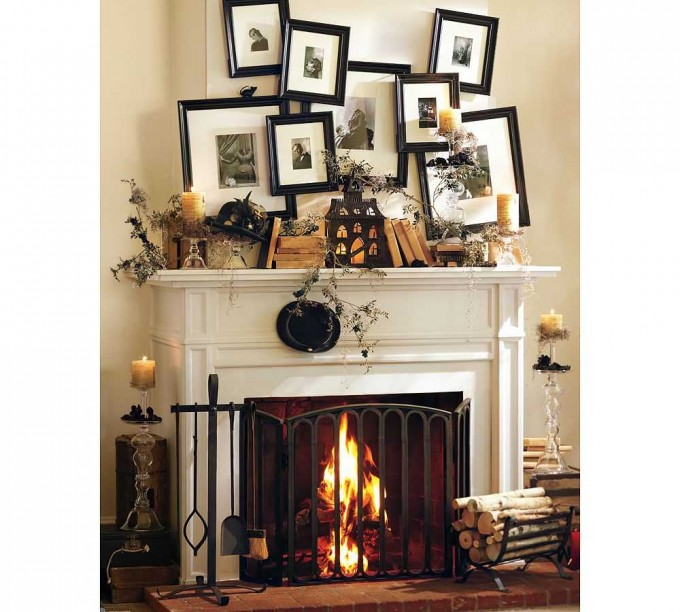 Fireplace Mantel Kits With Many Frames And Furnishes Above For Decorating Ideas