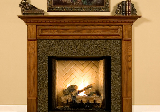 Fireplace Mantel kits with peachpuff wall and golden onlay obove