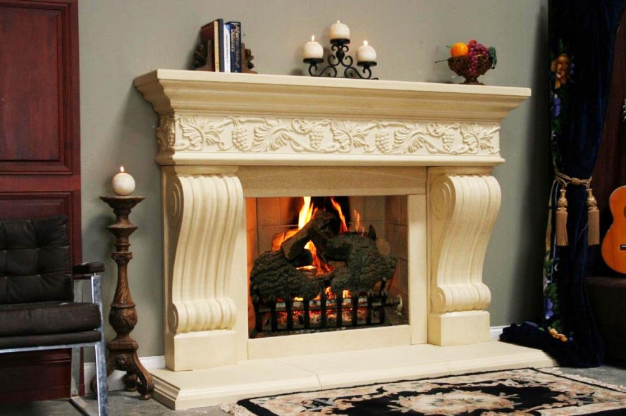 Fireplace Mantel kits with three chandels above and floral curtains and carpet