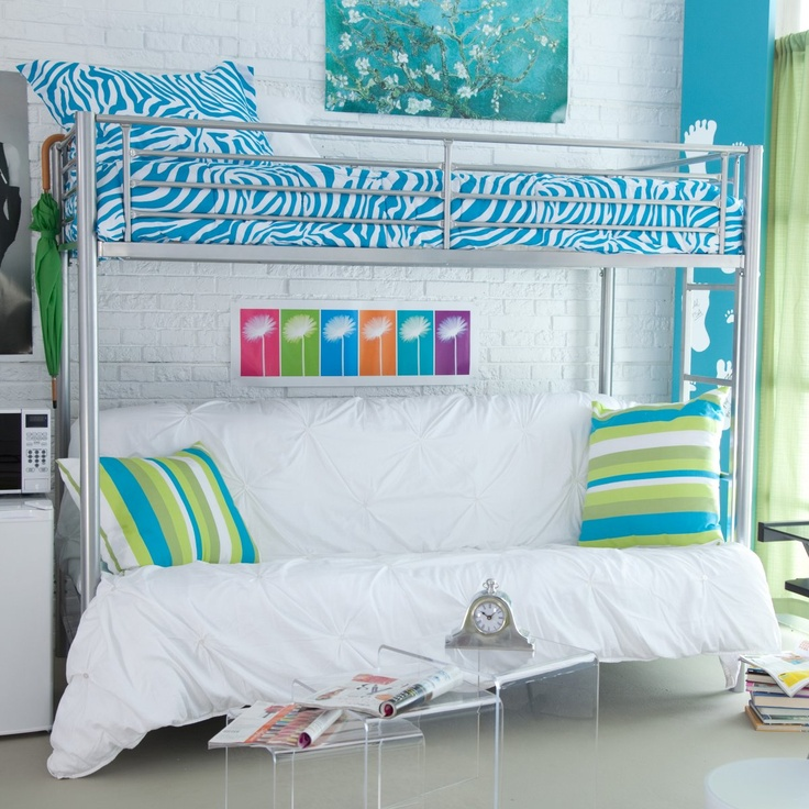 Furniture Awesome Design Loft Beds For Teens with blue zebra motif bedsheets and cool sofa bellow
