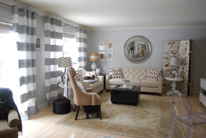 Gray And White Horizontal Striped Curtains With Lovely Sofa And Carpet And Circle Mirror
