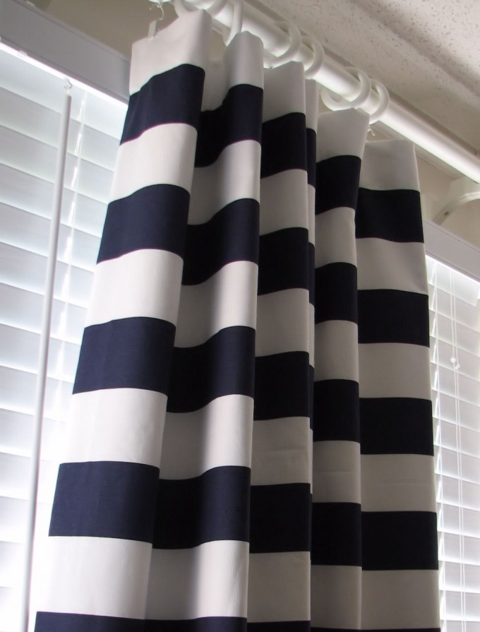 Gray And White Horizontal Striped Curtains With Six Curtain Rings