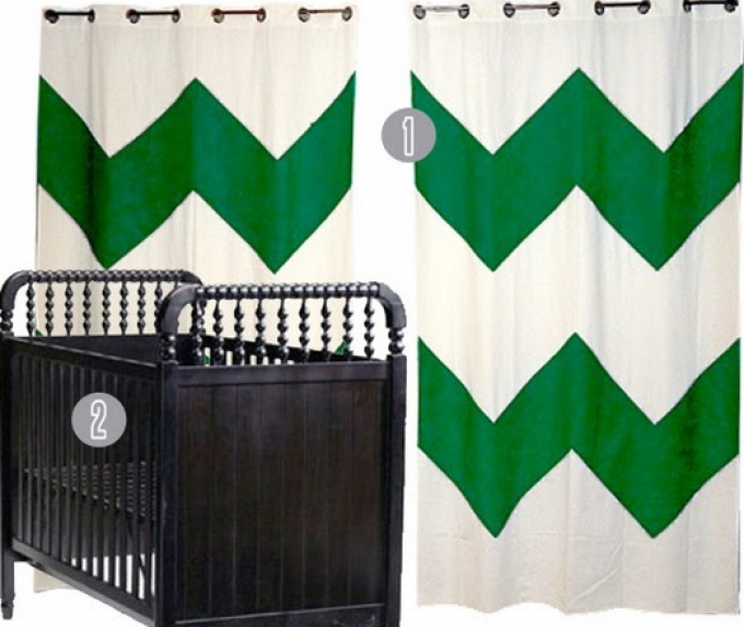 Green And White Chevron Curtains With Black Baby Box For Baby Room Ideas
