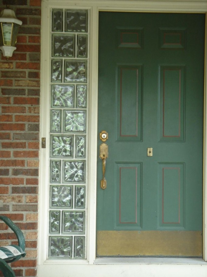 Green Entry Door With Sidelights Windows With Glass Blocks Cleveland