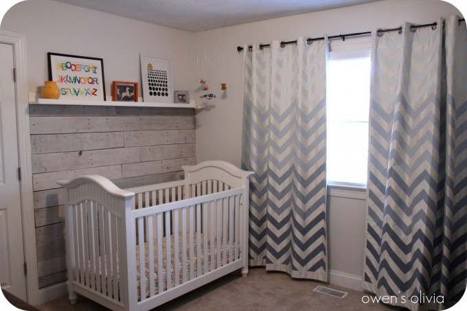 Grey Chevron Curtains Matched White Wall And White Baby Box For Baby Room Ideas