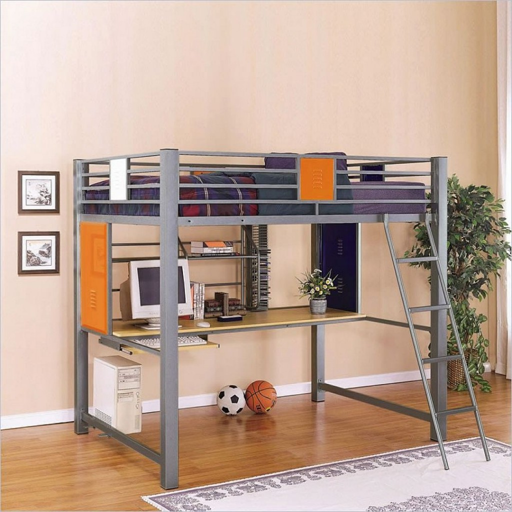grey Loft Beds For teens with computer desk and wooden floor