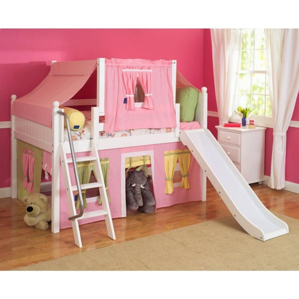 High loft beds for teens with slide and pink wall decor for your Girls Castle Bed Ideas