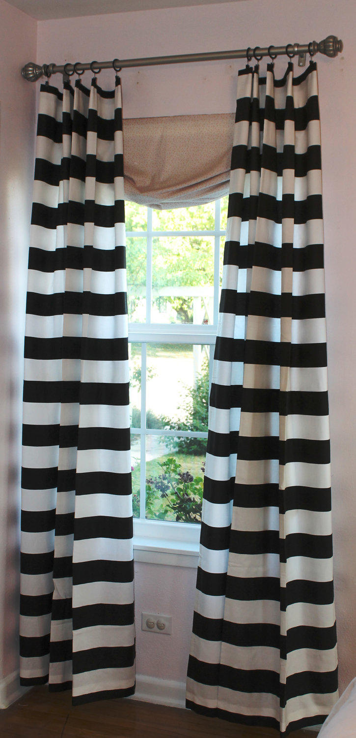 Horizontal Striped Curtains in black and white with single hung window